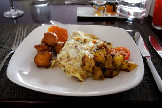 Saltfish and palori at The House, Barbados