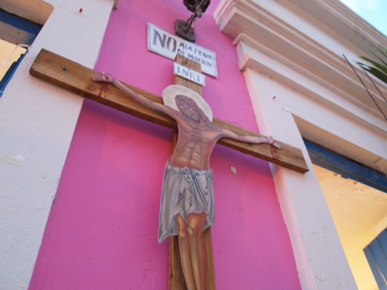 Jesus watches over the revelers at La Sombrilla Rosa/SBPR