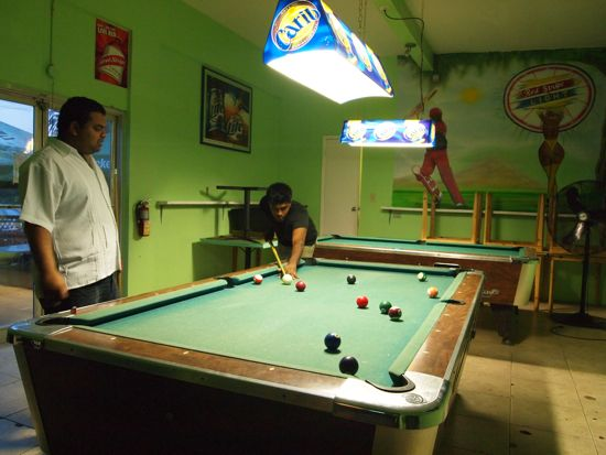 Pool table at Singh's, Grand Cayman/SBPR