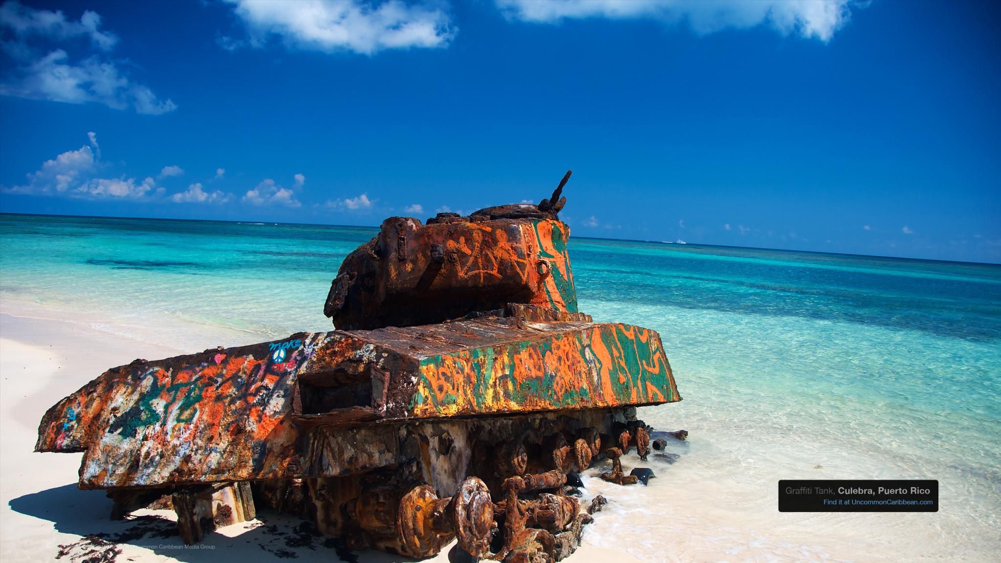 Caribbean Wallpaper Wednesday: Graffiti Tank, Culebra