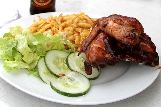 Chicken, Macaroni Pie and Salad at Sea Side Bar, Barbados
