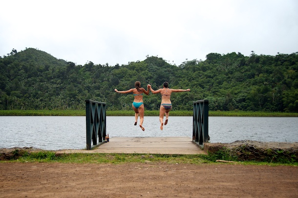 Leaping into Grand Etang Lake, Grenada by Patrick Bennett