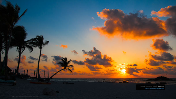 Sunset on Tulum Beach, Mexico Wallpaper by Patrick Bennett