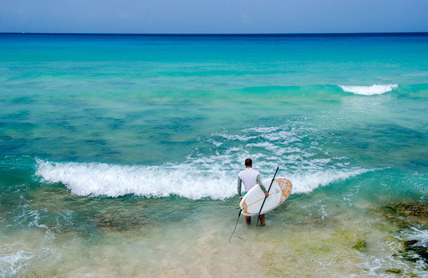 Paddleboarding off Barbados by Patrick Bennett