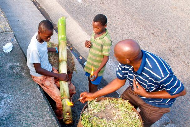 Bursting Bamboo Sounds of the Christmas Season in Grenada