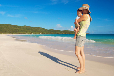 Mom and Baby on Flamenco Beach, Culebra