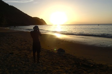 Patrick capturing the sunset on Castara Beach, Tobago | SBPR