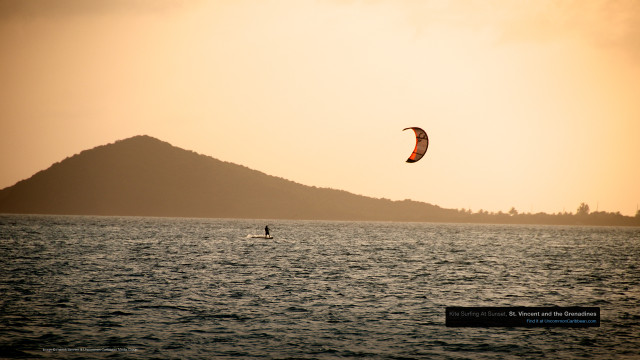 Kite Surfing At Sunset, St. Vincent and the Grenadines