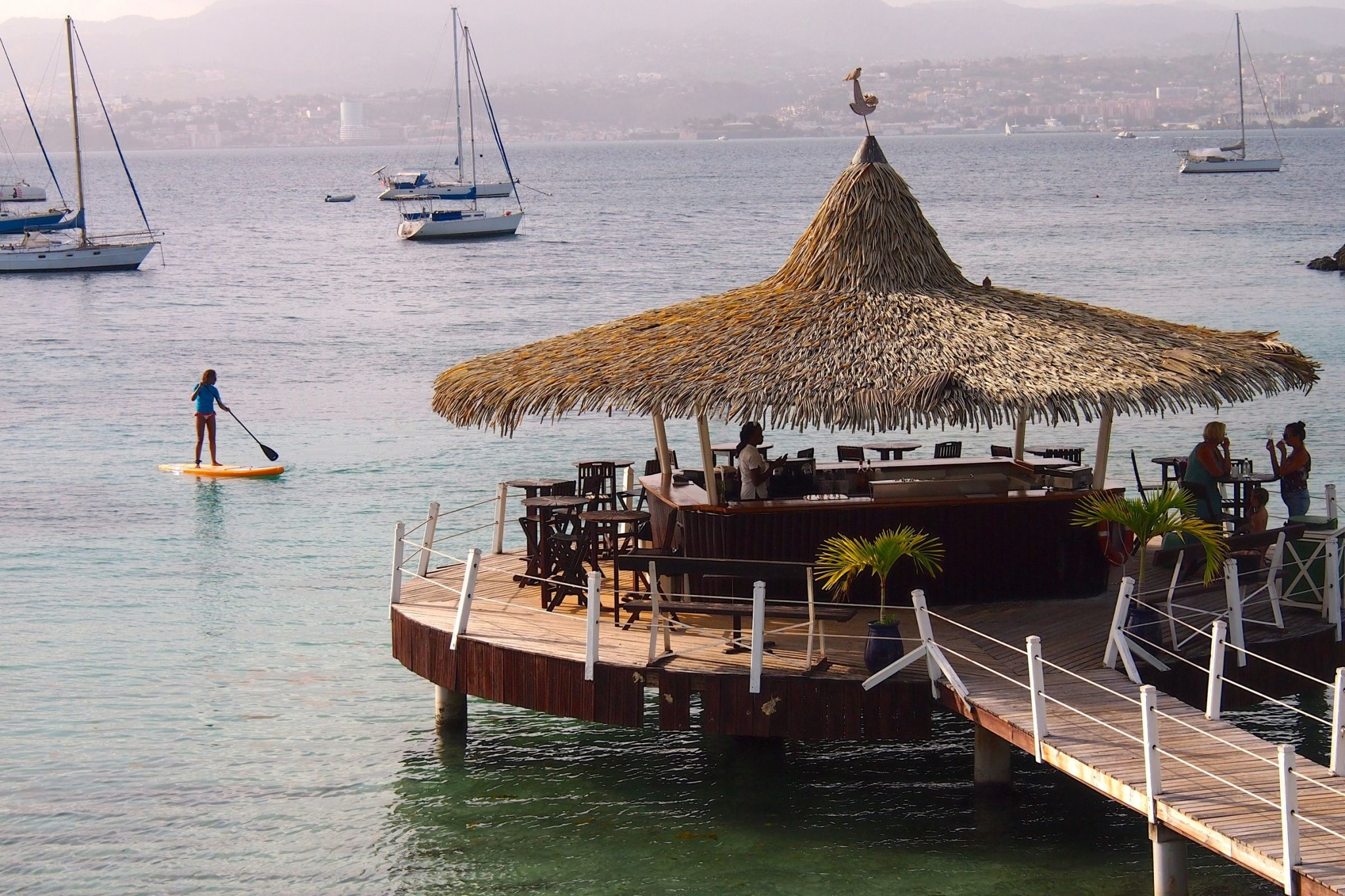 Paddleboarding to The Coco Bar in Martinique