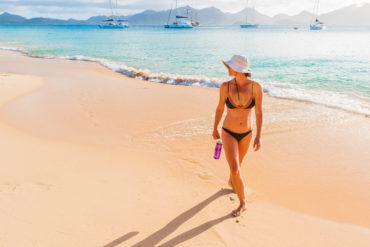 Bikini on Tintamarre Beach, St. Martin by Patrick Bennett