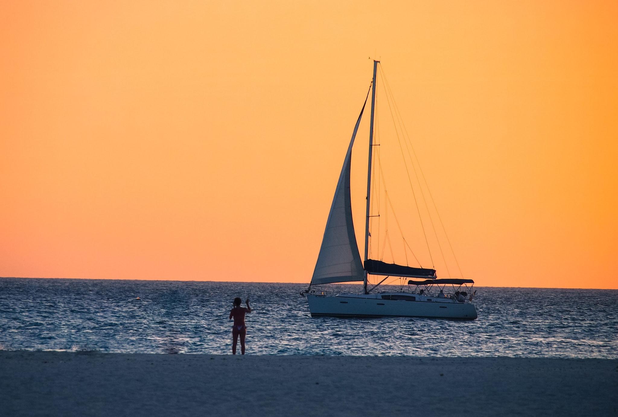 Sunset Sailing Off Eagle Beach, Aruba