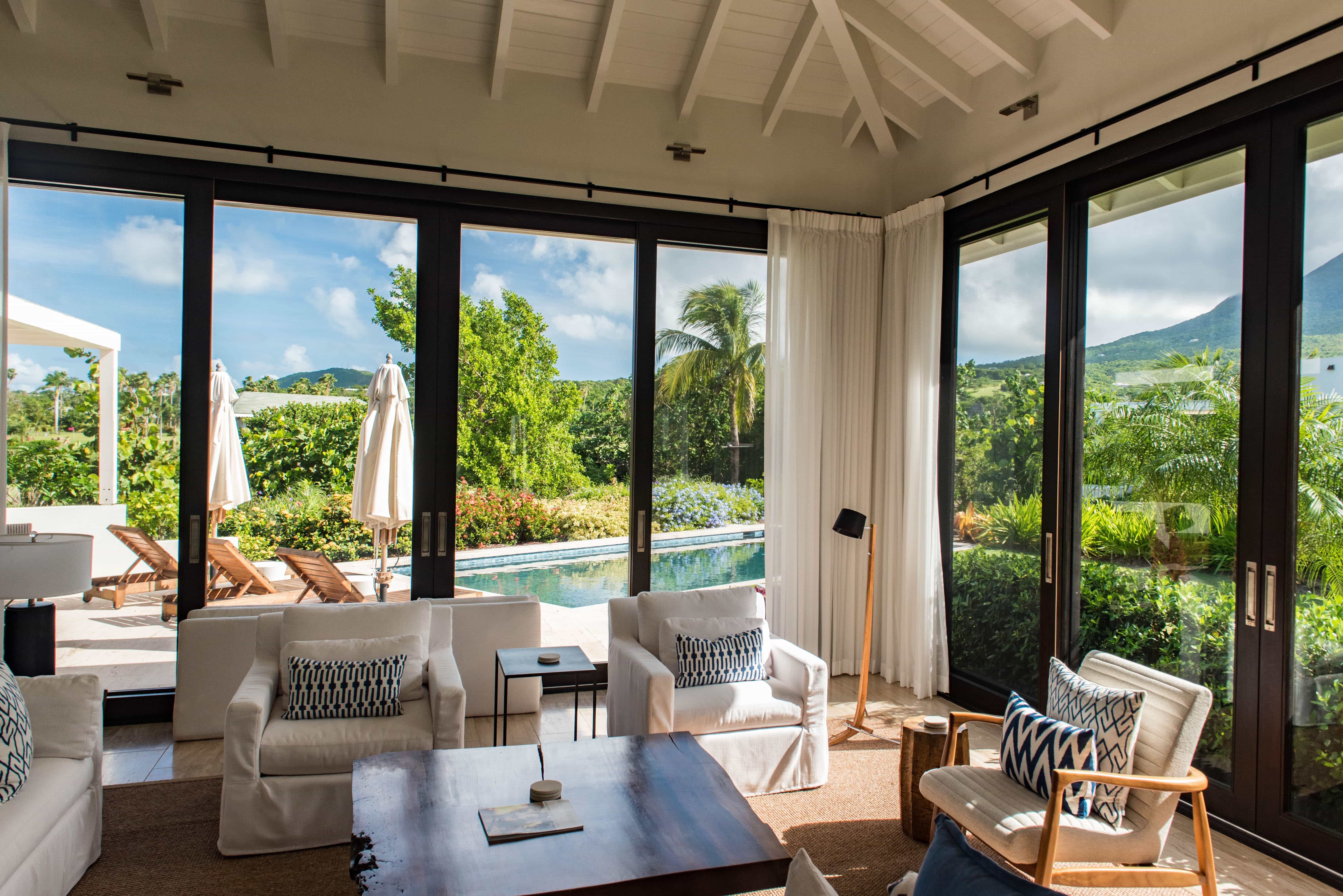 The villas boast varied living spaces but all are bright and offer exotic views from the comfort of a couch.