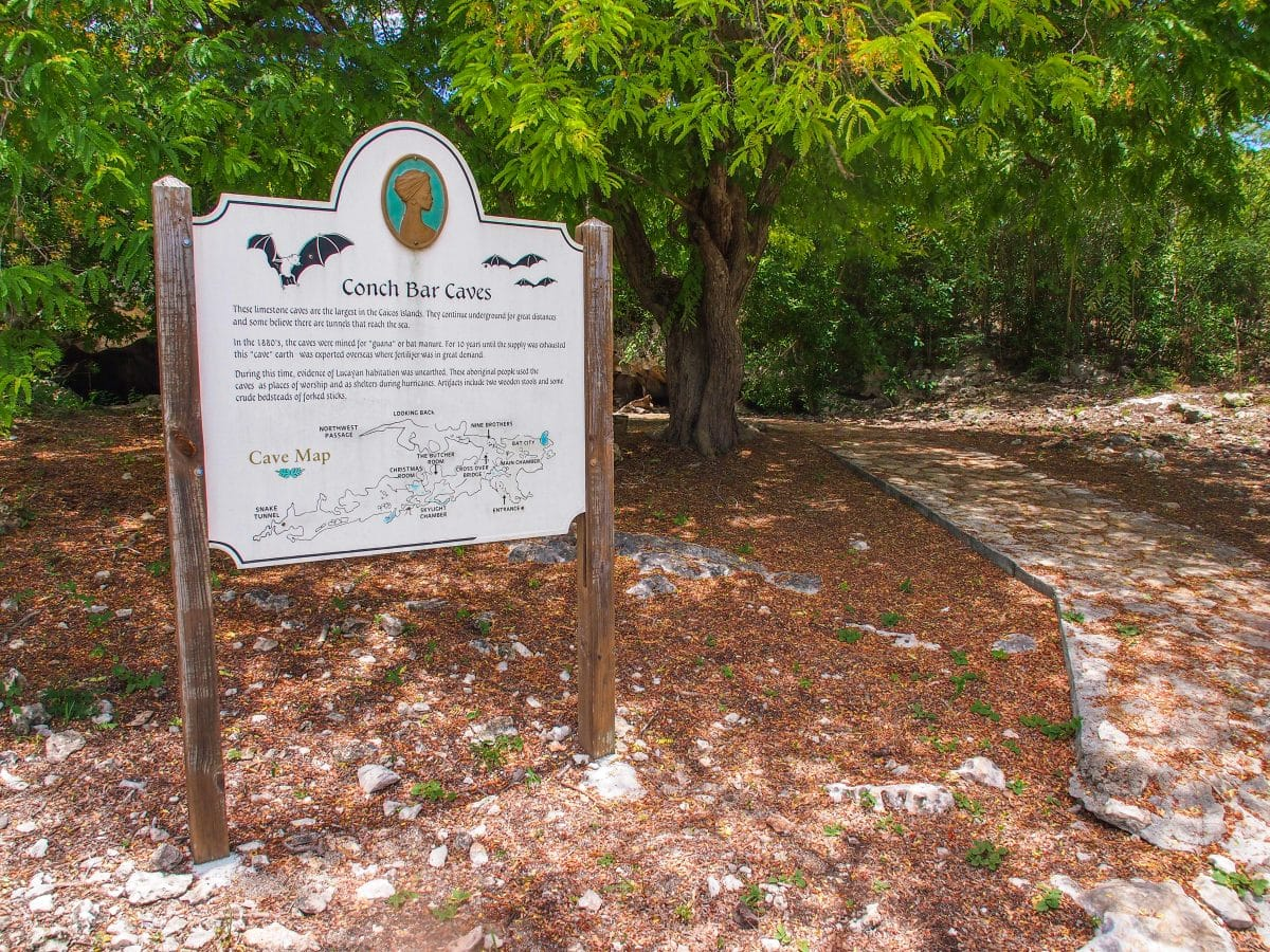 Conch Bar Caves Welcome Sign, Middle Caicos, TCI   SBPR