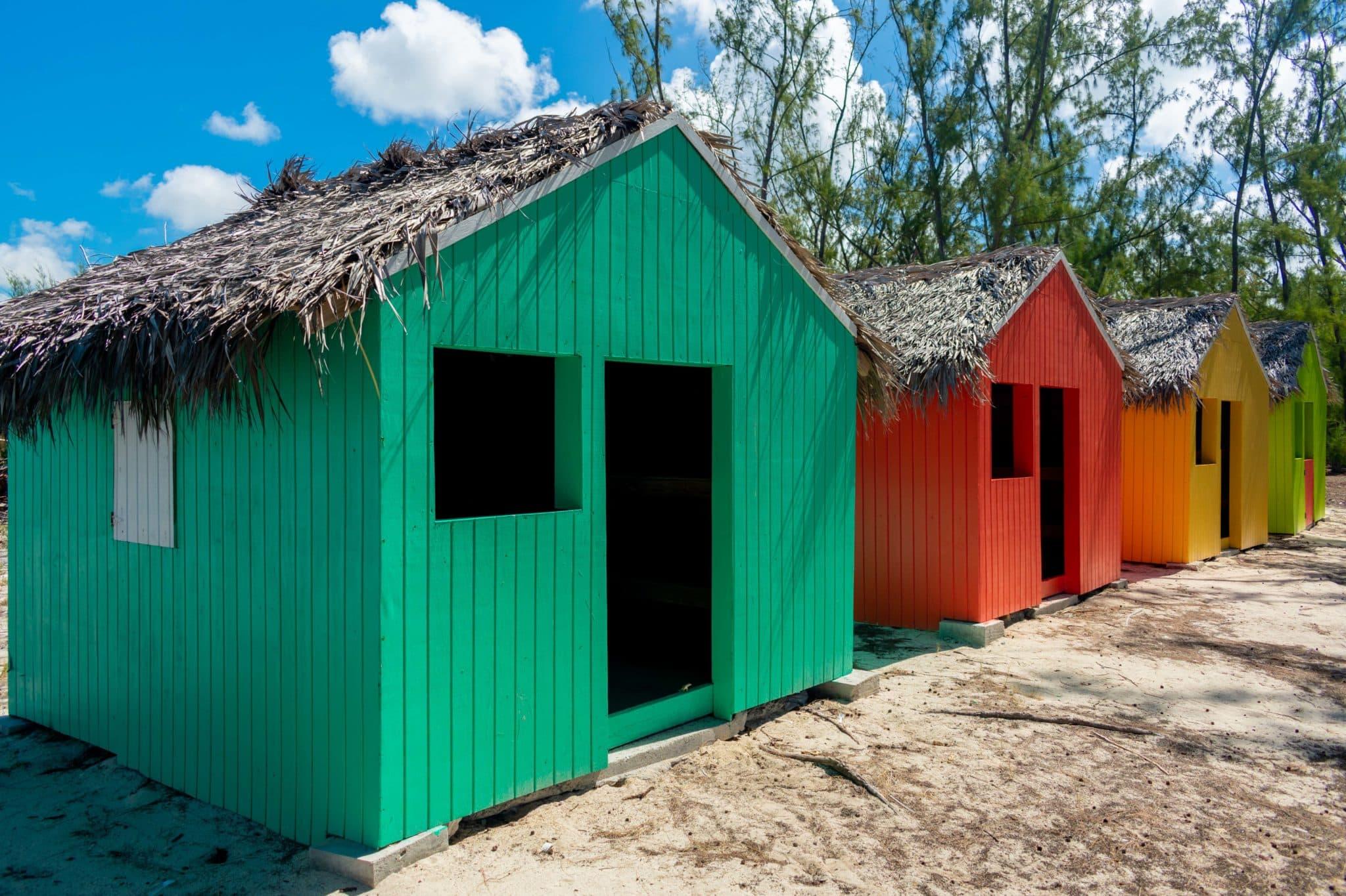 Tiki Huts Along Bambarra Beach, Middle Caicos